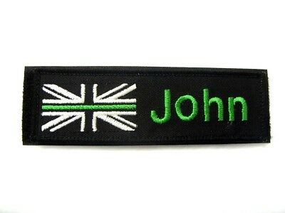 Thin Green Line Black Name Badge Patch White Uk Flag Kit Bags Ambulance Nhs