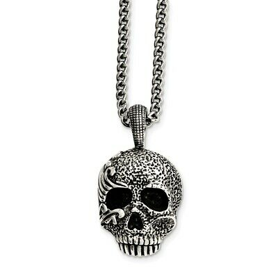 Polished Skull And Crossbones Dog Tag Pendant And Necklace In Stainless Steel 42x24mm 24 Inches