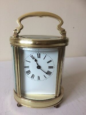 Antique French Oval Corniche 8 Day Carriage Clock Working With Key Lion Mark