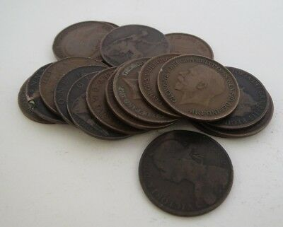 Lot of 19 UK/England 1886-1920 LARGE One Penny Copper Coin Victoria, King Edward