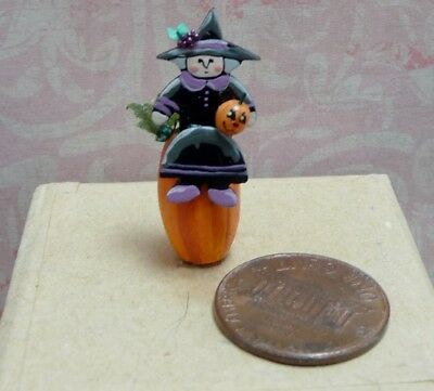 Cute 1:12 Scale Miniature Karen Markland Witch With Pumpkin