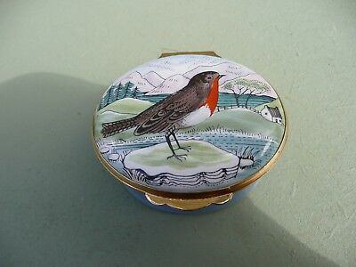 Collectable  Enamel Box - Winter Snowy Robin Scene
