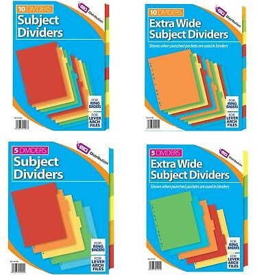 A4 File Dividers Card Sheet Coloured Tabs Subject Filing Extra Wide