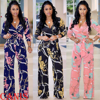 Womens Clubwear Playsuit Bodysuit Party Jumpsuit Romper Floral Long Trousers US