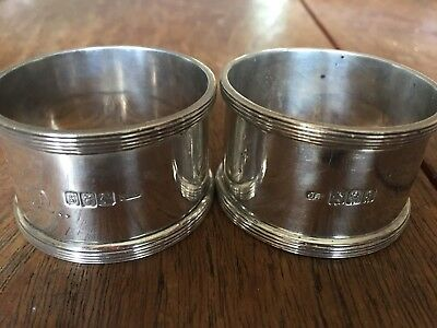 Vintage solid silver napkin rings