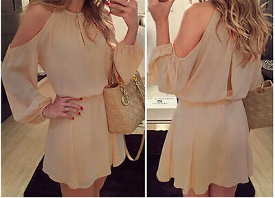 Womens Long Sleeve Chiffon Evening Cocktail Party Summer Casual Short Mini`Dress
