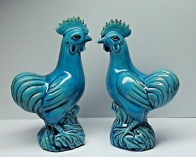 ANTIQUE QING CHINESE TURQUOISE GLAZED CERAMIC FIGURES. COCKERALS ROOSTERS 19th C