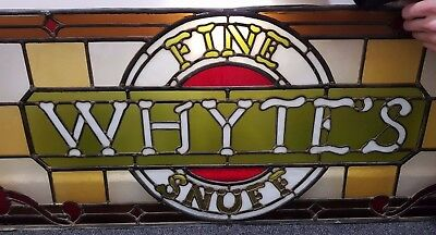 Antique Shop Front Stained Glass Window Whyte's Fine Snuff Tobacco Sign 1800's