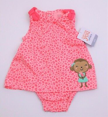 Baby Girls Carter's 'JUST ONE YOU' Applique Monkey Romper Dress 3-6 Mths BNWT
