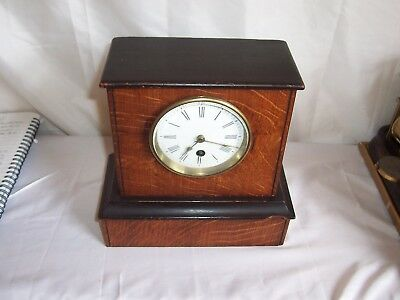 Beautiful French Tiger Oak And Ebonised Time Only Mantle Clock.pinchon  Fils..