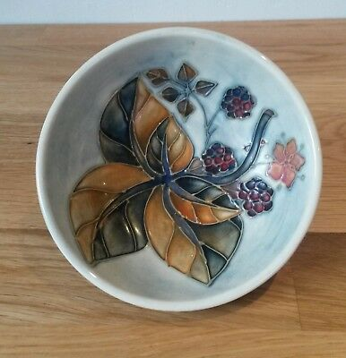 Lovely Moorcroft Pottery Footed Bowl-Blackberry Pattern
