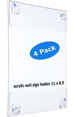 """Premium Acrylic Wall Mount Display Sign Holder with ADHESIVE Ad Frame 8.5"""" x 11"""""""