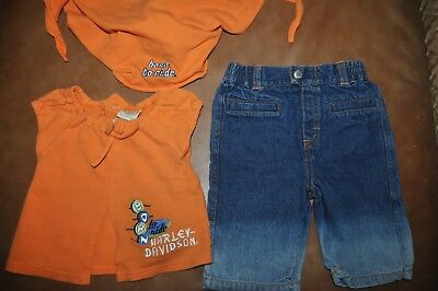 HARLEY DAVIDSON Baby GIRLS 3 Piece Outfit BORN TO RIDE JEANS TOP HEAD WRAP
