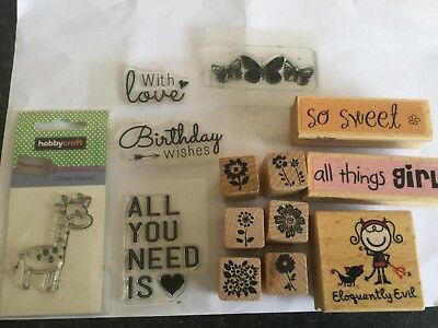 14 Assorted Rubber Stamps Words Sentiments Flowers Crafts Stamping Cardmaking