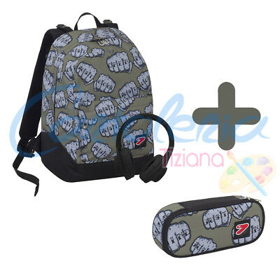 Zaino scuola Seven The Double project reversibile Knock Boy cuffie + Portapenne