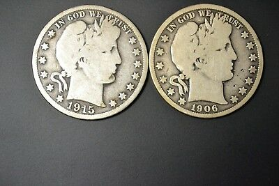 Lot Of 2 Barber Halves Circulated (1906 ; 1915 D )  Free Shipping