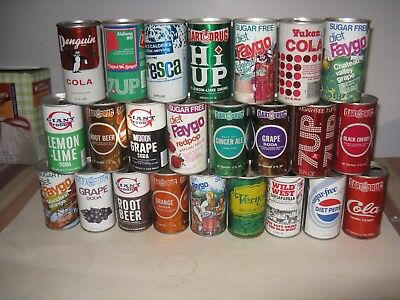 24 Different Soda Cans First Issued Some 40 Years Ago