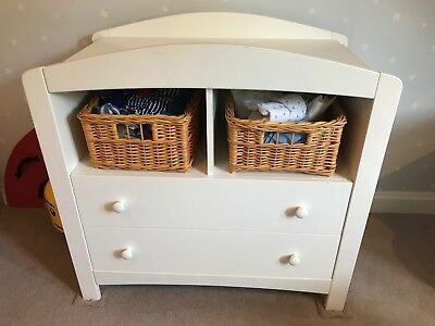 Mother care white baby changing unit with 2 wicker baskets