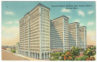 AK US USA Post Card General Motor Building DETRIOT gelaufen 1947