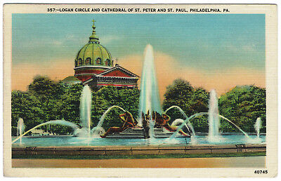 AK US USA Post Card Logan Circle Cathedral Peter Paul PHILADELPHIA gelaufen 1947