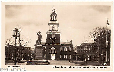 AK USA Post Card Independence Hall Commodore Barry Monument PHILADELPHIA ungel.