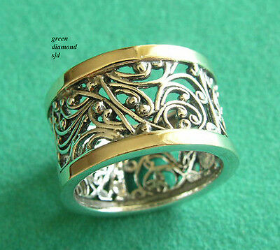 Sterling Silver With 9K Solid Gold Antique Style Filigree Ring Size 8