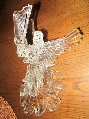 """Clear Acrylic Angel with/Harp Christmas Tree Topper, 10-1/2"""" x 5-1/2"""""""