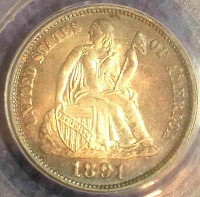 1891 10C Liberty Seated Dime PCGS MS66