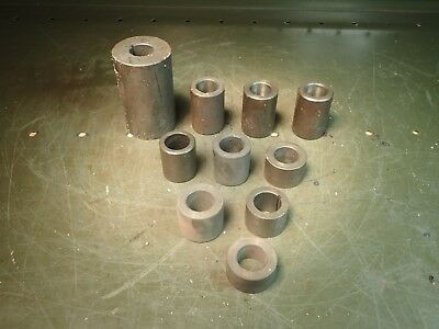 """10 Piece Lot 7/8"""" Horizontal Mill Milling Arbor Spacers, 16-1/2"""" Combined Length"""