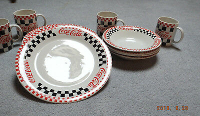 Coca Cola 12 Piece Dinnerware Set, 4 Person Diner Setting Checkered 1996 Gibson
