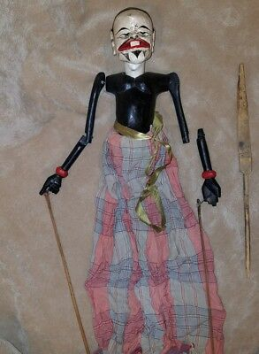 Fine Old Antique Indonesian Stick Rod Carved Wood Puppet Doll TLC Parts