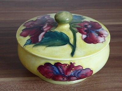 Moorcroft lidded pot in hibiscus pattern with yellow background
