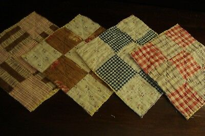 LOT OF 4 ~ ANTIQUE 1930/40s 9 PATCH QUILT BLOCKS ~ LANCASTER COUNTY PA