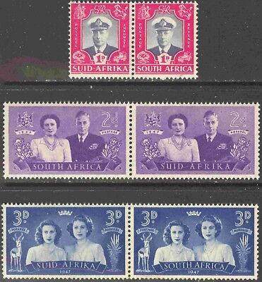 1947 South Africa #103-105 Complete MNH Set of 3 Pairs Royal Visit