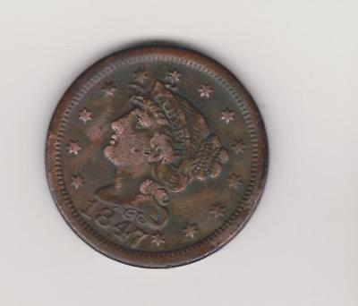 SCARCE DATE 1847 large  penny   -   VERY  NICE DETAIL  FREE SHIPPING