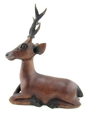 Wood Carved Wooden Animal Deer Statue Buck Stag Handmade Hunting Sculpture 12""