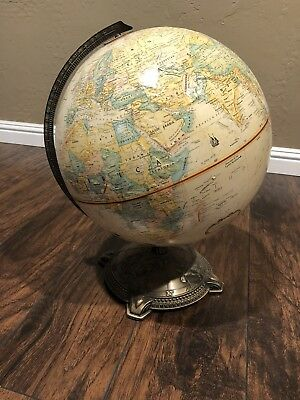 Globemaster 12 Inch World Globe Brass Base Vintage Classic Raised Relief 3D