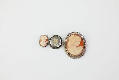 Lot of 3 x Vintage .925 STERLING & .800 SILVER Cameo Themed Brooches -19g