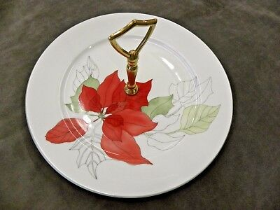 Block Spal POINSETTIA Canape Dish w Handle - Watercolors Portugal China (BSE)
