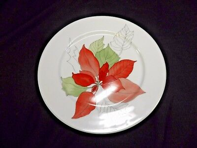 "Block Spal POINSETTIA 8"" SALAD PLATE Watercolors Portugal Holiday China(BSE)"