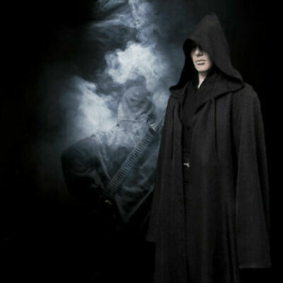 Black Mens Hooded Robe Cloak Cape Party Halloween Vampire Cosplay Costume S-XXL