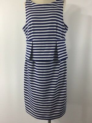 a pea in the pod maternity dress Sz M Sleeveless Striped Blue/White