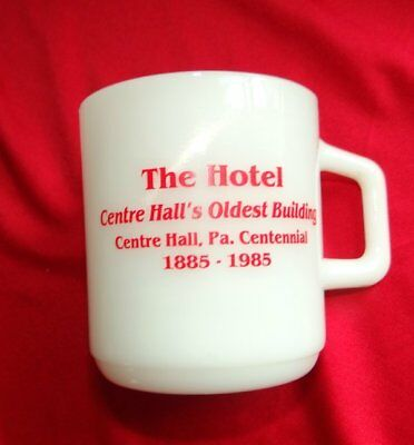 Vintage Galaxy Brand Milk Glass Advertising Mug for The Hotel Centre Hall Pa