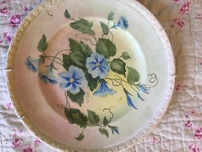 Vintage Wedgewood Plate blue morning glory flowers, signed L Winn shabby chic