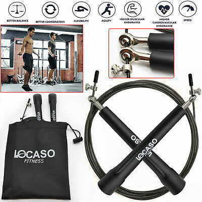 New Pro Weighted Speed Cable Skipping Jumping Rope Boxing Mma Fitness Gym Jump