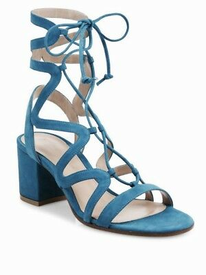 f2320456f6da7 GIANVITO ROSSI BLUE Suede Lace-Up Block Heel Sandals Size 39 ...