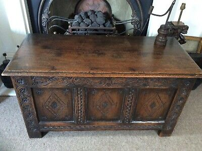 18Th Century Oak Coffer Small Proportions 3 Panel Front Nice Carving Detail...