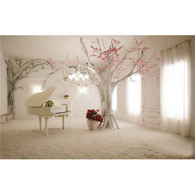 5x3FT 1.5x1m Indoor Piano Tree Scenery Photography Backdrop Photo For Studio