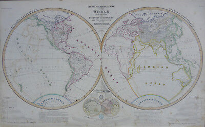 Twin Hemispheres map of the World by Augustus Petermann c1850