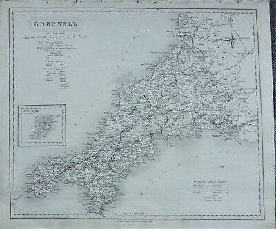 c1837 map of Cornwall + an inset of The Scilly Isles by J & C Walker